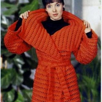صورة طريقه عمل جاكت كروشيه , فستان شتوى احمر