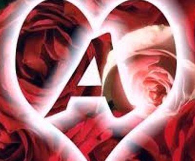 صورة حرف a مكتوب عليها بحبك , لحبيب قلبي